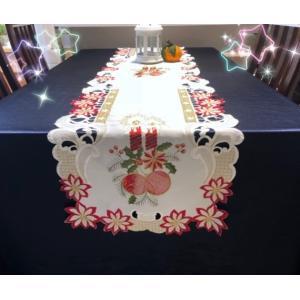 ♪Merry Xmas テーブルランナー クリスマスコーディネート 43X180cm ワーク刺繍 ポインセチア|rose-viva-shop