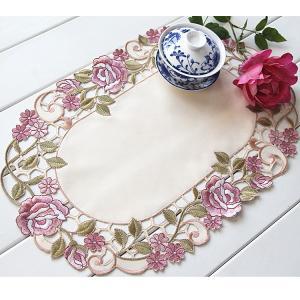ガーベライエロー 40X100cm カットワーク刺繍 テーブルセンター テーブコーディネート  |rose-viva-shop