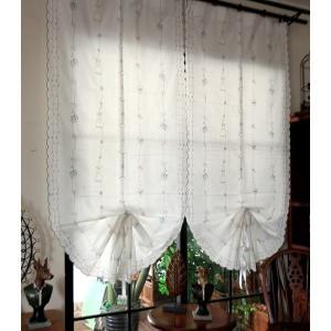 送料無料 バルーンレースカーテンシェード 85×175cm リボンで調節 ホワイト半透明 可愛い柄の刺繍|rose-viva-shop