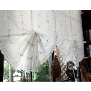 -送料無料 バルーンレースカーテンシェード 65×175cm リボンで調節 ホワイト半透明 可愛い柄の刺繍|rose-viva-shop