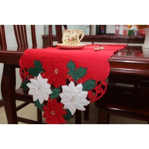 ♪Merry Xmasポインセチア刺繍テーブルランナー33×178cm/赤|rose-viva-shop