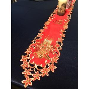 ♪Merry Xmas カットワーク刺繍 ミニ テーブルセンター13×120cm/赤|rose-viva-shop