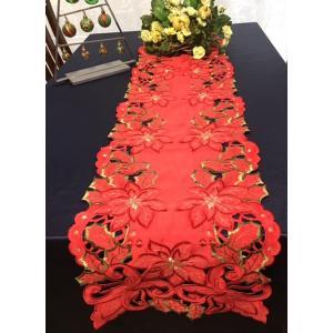 ♪Merry XmasポインセチアALLカットワーク刺繍テーブルランナー33×180cm/赤/q1|rose-viva-shop