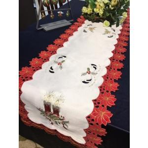 ♪Merry Xmasジングルベル&カットワo刺繍テーブルランナー33×180cm/ホワイトiwwai|rose-viva-shop