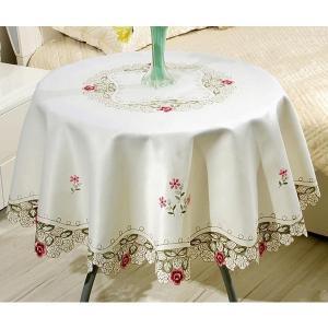 テーブルクロス 円形150cm ホワイトに薔薇刺繍 #018|rose-viva-shop