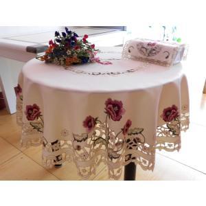 テーブルクロス 円形 150cm カットワーク刺繍  #229|rose-viva-shop