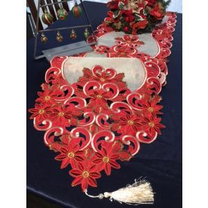 ♪Merry XmasALLカットワーク刺繍テーブルランナー33×180cm/赤ポインセチア|rose-viva-shop