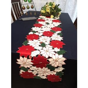 ♪Merry XmasポインセチアALLカットワーク刺繍テーブルランナー33×180cm/赤gr|rose-viva-shop