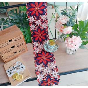 *♪Merry Xmas テーブルセンター クリスマスコーディネート 20X160cm all カットワーク刺繍 赤 ポインセチア|rose-viva-shop