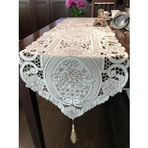 -テーブルランナー カットワーク刺繍 ベージュ 40×180cm #812 #葡萄 |rose-viva-shop