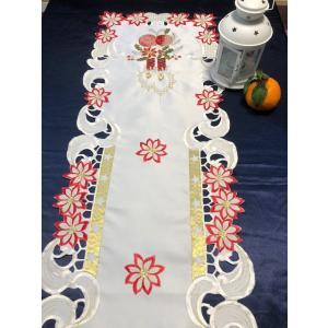 ♪Merry Xmas テーブルセンター クリスマスコーディネート 43X130cm all カットワーク刺繍 ポインセチア|rose-viva-shop