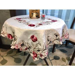テーブルクロス チューリップ柄カットワーク刺繍 85cm  #329|rose-viva-shop
