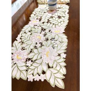 テーブルランナー 蓮の花 ALLカットワーク刺繍薔薇 33×175cm 薄ピンク #327 rose-viva-shop