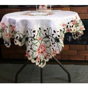テーブルクロス 薔薇カットワーク 85cm ピンク 052|rose-viva-shop