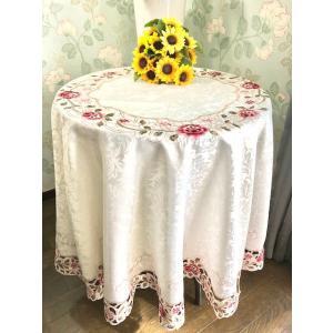 テーブルクロス円形180cm カットワーク刺繍  薔薇 #924|rose-viva-shop