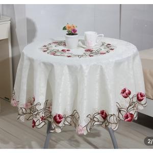 テーブルクロス円形180cm 刺繍  チューリップ 329|rose-viva-shop