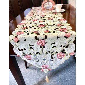 テーブルランナー 薔薇つぼみ カットワーク刺繍 40X180cm #426 rose-viva-shop