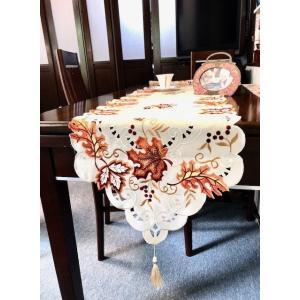 テーブルランナーもみじ カットワーク刺繍 40X180cm 紅葉 葉っぱ#427 rose-viva-shop