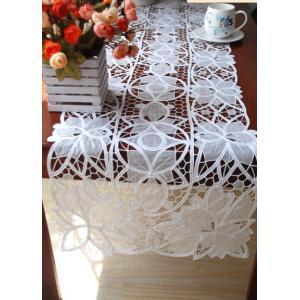 ホワイト 40X135cm カットワーク刺繍 テーブルセンター お洒落 透明感 |rose-viva-shop