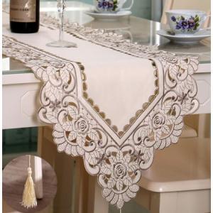 テーブルランナー 薔薇 カットワーク刺繍 40X180cm ベージュ#010 rose-viva-shop