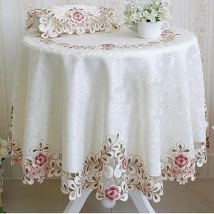 テーブルクロス 円形 カットワーク刺繍 150cm  #517|rose-viva-shop
