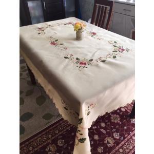 完売 6人卓/130X170cm  NEW/カットワーク刺繍 お洒落  テーブルクロス 薔薇|rose-viva-shop