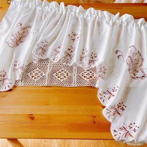---送料込み:カフェカーテン&カーテンバランス 150×85cm 蝶々 b|rose-viva-shop
