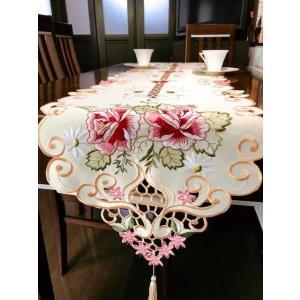 テーブルランナー 薔薇満開 カットワーク刺繍 35×180cm #722 豪華版 オリジナル品 rose-viva-shop