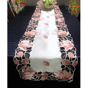 テーブルランナー チューリップ 蕾 ピンク カットワーク40×180cm 刺繍 pink #907 rose-viva-shop