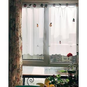 送料込み:2枚セットカフェカーテン 76縦×82cmX2枚 可愛いモチーフをつけ楽し気に飾りましょう|rose-viva-shop