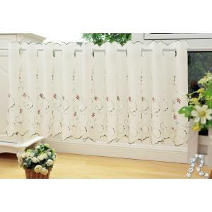 完売 送料込み 小花刺繍 カフェカーテン 45×175cm |rose-viva-shop