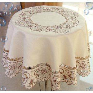 テーブルクロス円形180cm カットワーク刺繍  ベージュ0...