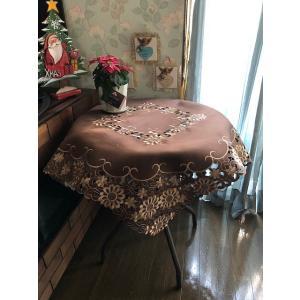 テーブルクロス ブラウン≫カットワーク刺繍 85cm 茶色 brown 172|rose-viva-shop