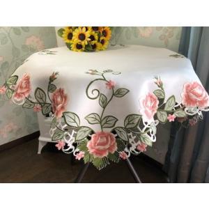 テーブルクロス 薔薇 カットワーク薔薇 85cm サ−モンピンク #606|rose-viva-shop