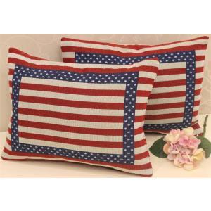 クッションカバー 2枚セット 33X45cm 米国旗柄  星条 |rose-viva-shop