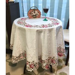 テーブルクロス 円形 150cm カットワーク刺繍  #924|rose-viva-shop