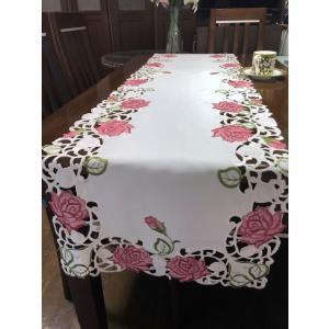 テーブルセンター 40×180cm 105 ピンク色薔薇 カットワーク刺繍 pink rose-viva-shop