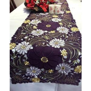 テーブルランナー ガーベラ花 超豪華 ALL カットワーク刺繍 40×180cm パープル #8210  rose-viva-shop