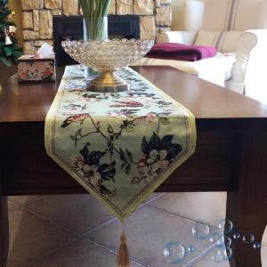 ヨーロッパ風 light green テーブルランナー33*180cm  蝶々舞い rose-viva-shop