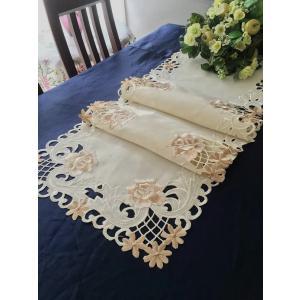 テーブルセンター40×180cm  薔薇 カットワーク刺繍 ベージュ #358|rose-viva-shop