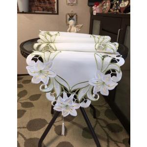 テーブルランナー 百合の花 グリーン カットワーク刺繍 40×180cm green #117 rose-viva-shop
