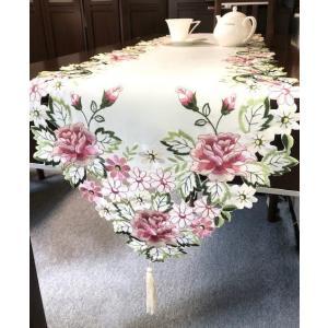 テーブルランナー 牡丹の花 カットワーク刺繍 40×180cm #518 rose-viva-shop
