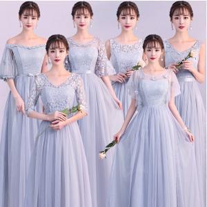 新作 グレー 6デザインカラードレス フォーマル イブニング...