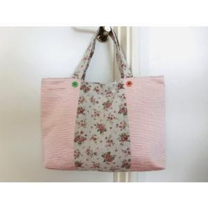 トートバッグ手づくり ミニ薔薇柄&ピンク W40cmH30cm(7cmのマチ有り)|rosedeco