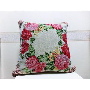 クッションカバー  お花のリーフ 45cm×45cm|rosedeco