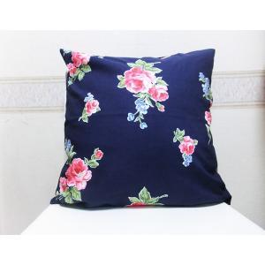 クッションカバー 綿 薔薇 紺色 おしゃれなクッションカバー 45cm×45cm|rosedeco