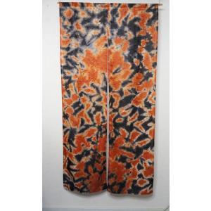 のれん  刺繍の花暖簾  ロング丈のれん   オレンジ×黒   幅88cm×丈170cm |rosedeco