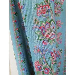 カーテン オーダーカーテン フローリアン  ブルー  巾 101〜150cm × 丈 50〜150cm  北欧 洋風 おしゃれ かわいい エレガンス 手作り フェミニン |rosedeco