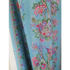 カーテン オーダーカーテン フローリアン ブルー 巾 101〜150cm × 丈 151〜200cm  北欧 洋風 おしゃれ かわいい エレガンス 手作り フェミニン |rosedeco