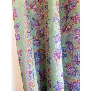 カーテン オーダーカーテン フローリア グリーン   巾  201〜250cm × 丈 50〜150cm 北欧 洋風 おしゃれ かわいい エレガンス 手作り フェミニン  rosedeco